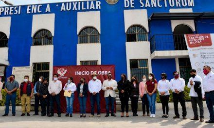 En Cuautlancingo, Lupita Daniel inicia la rehabilitación del alcantarillado sanitario de la Calle Margaritas, así como la rehabilitación de la Presidencia Auxiliar de Sanctorum.