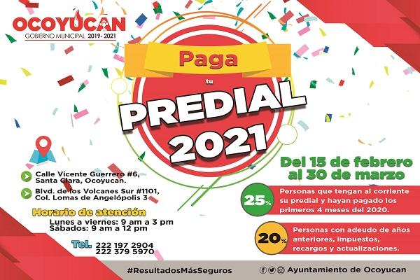 """Arranca en Ocoyucan programa """"Paga tu Predial 2021"""""""
